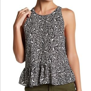 14th & Union | Printed Horse peplum Top Tie Back